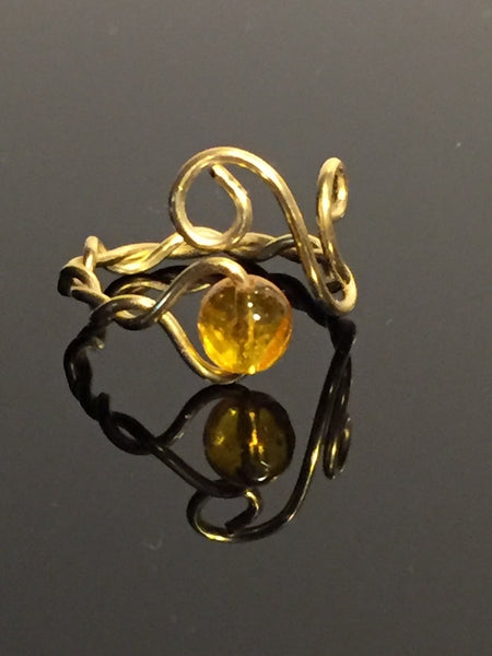 Citrine Gold Wire Wrap Adjustable Ring