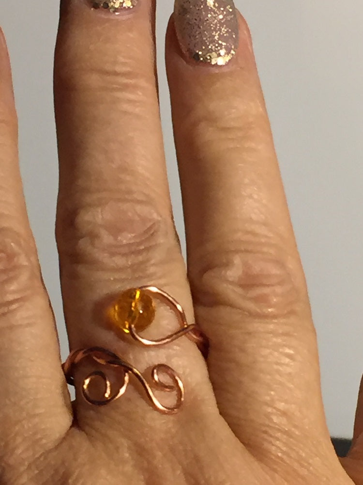 Citrine Wire Wrap Adjustable Ring