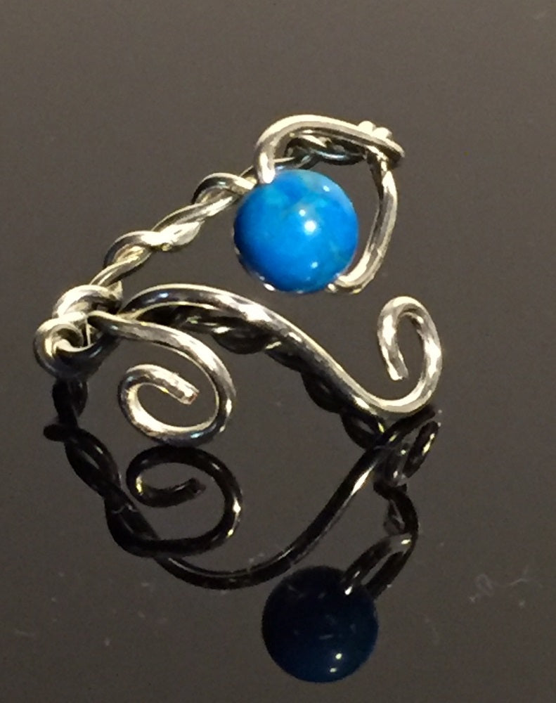 Turquoise Howlite Silver Plate Wire Wrap Adjustable Ring