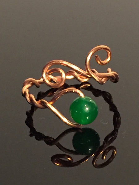 Emerald Jade Copper Wire Wrap Adjustable Ring