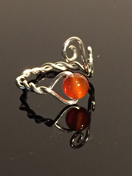 Carnelian & Silver Plate Wire Wrap Adjustable Ring