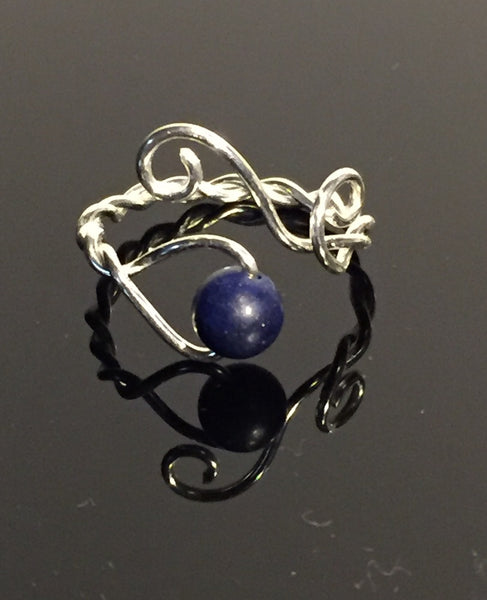 Lapis Lazuli & Silver Plate Wire Wrap Adjustable Ring