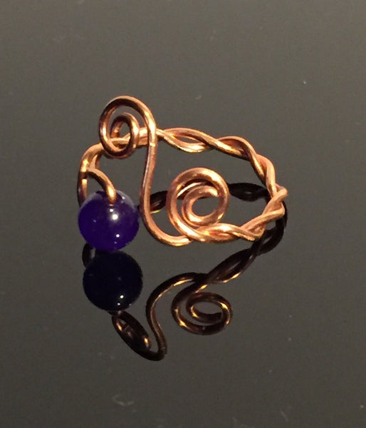 Amethyst & Copper Twisted Wire Wrap Adjustable Ring