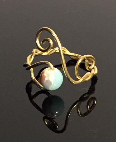 Sea Sediment Gold Twisted Wire Wrap Adjustable Ring