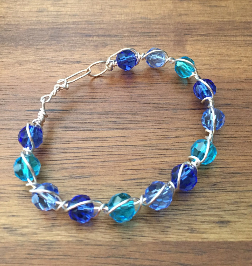 Shades of Blue Crystal Beaded Wire-Wrapped Bracelet Bangle