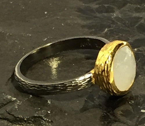 Rainbow Moonstone Gold Plated Silver Ring