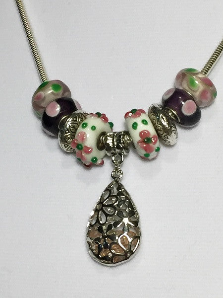 Pink Filigree Lampwork Bead Necklace