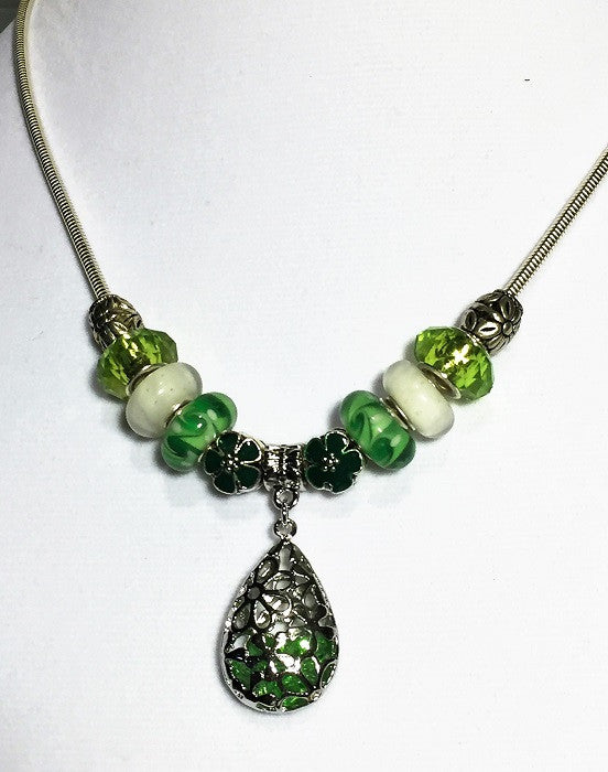 Green Filigree Lampwork Bead Necklace