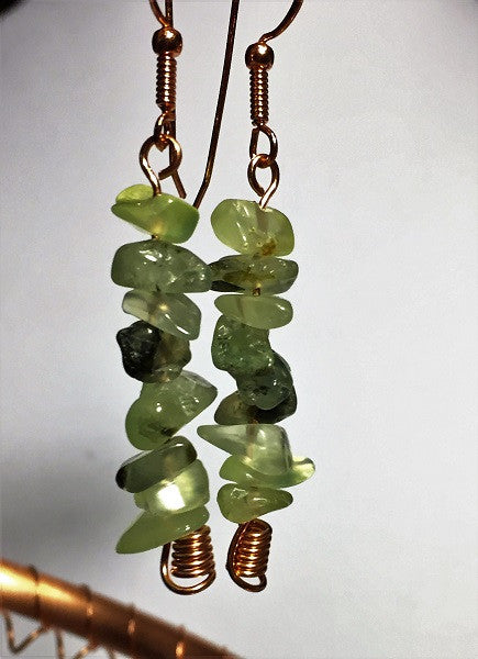 Green Garnet Nugget Earrings