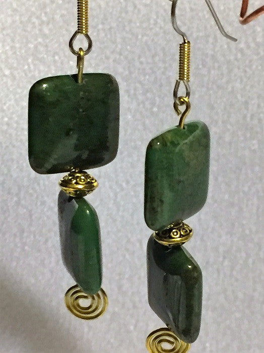 Green Jasper Square Earrings