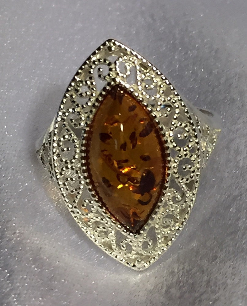 Cognac Baltic Amber Sterling Ring
