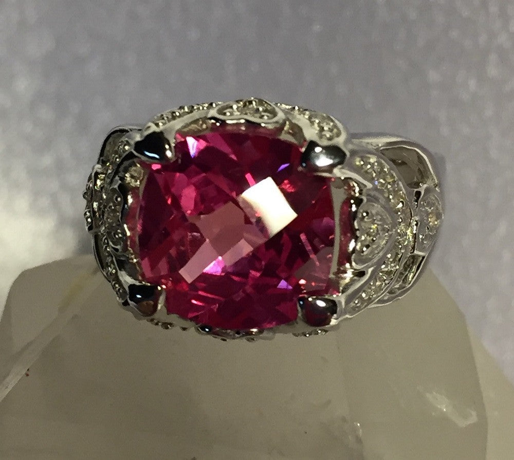Pink Ice Rhodium Plated Sterling Silver Ring Size 6