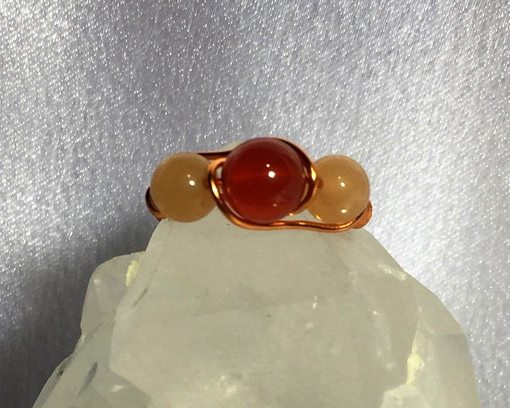 Carnelian Duo Wire-Wrap Copper Ring
