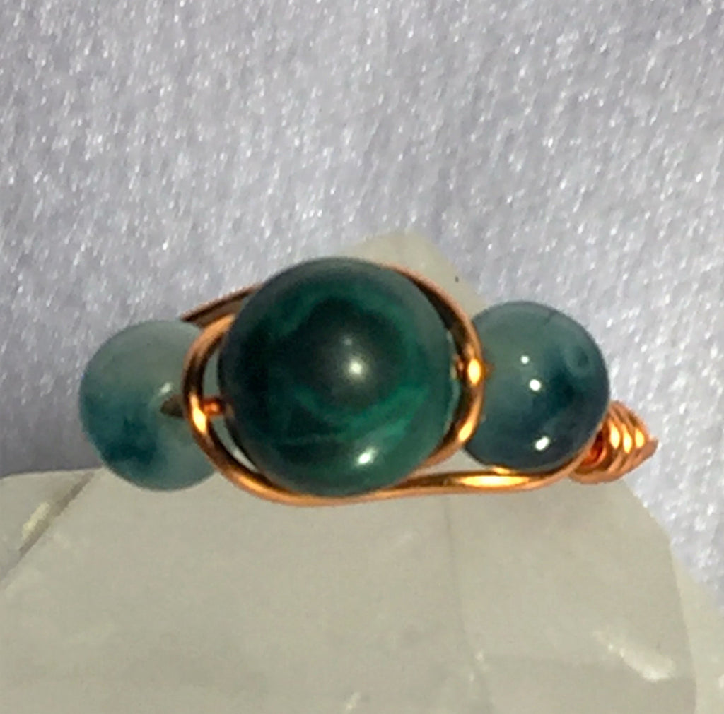 Malachite & Moss Jade Wire-Wrap Ring