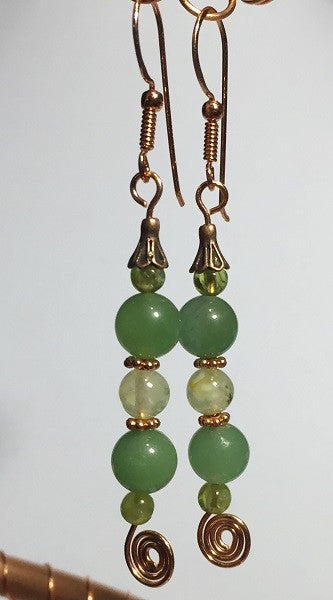 Aventurine Fairy Cap Earrings