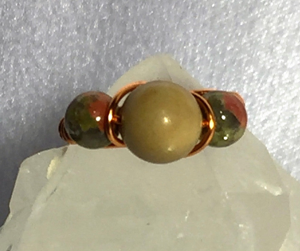 Jasper & Unakite Wire-Wrap Copper Ring