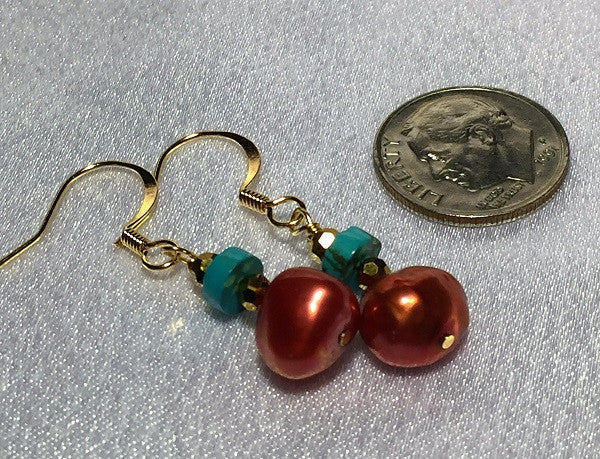 Copper Red Pearl & Turquoise Earrings