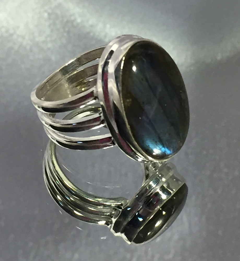 Triple Band Blue Labradorite Ring - Size 7.25