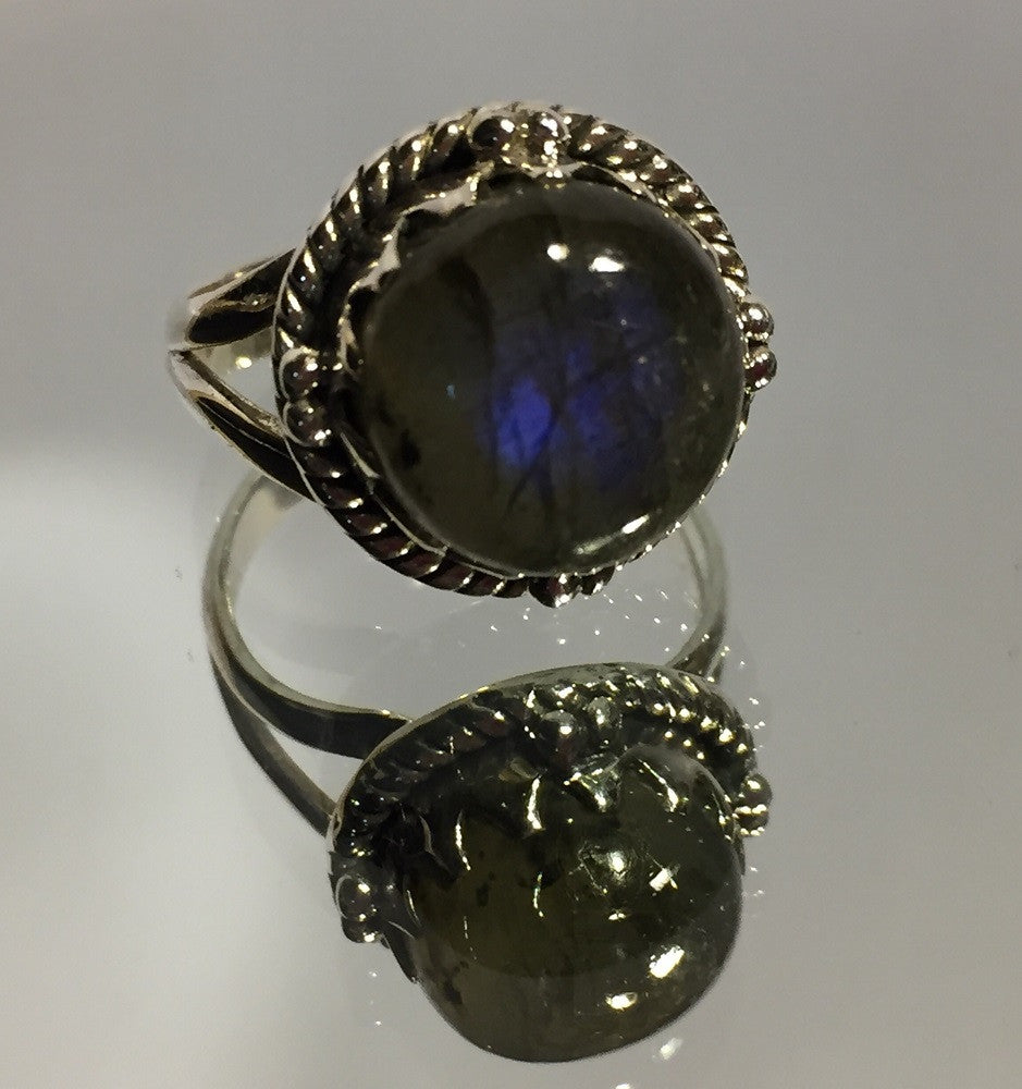 Labradorite Ball Ring - Size 8