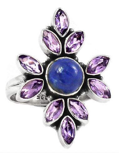 Lapis & Amethyst Cross Ring Size 8.5