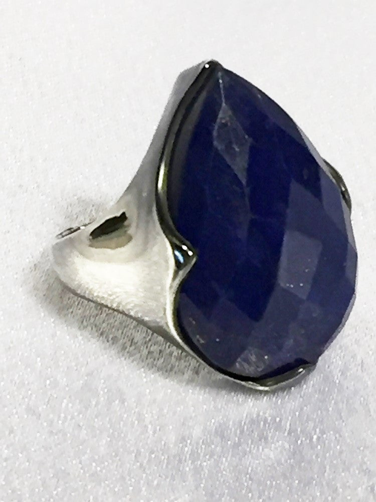 Pear-Shaped Faceted Lapis Ring - Size 7