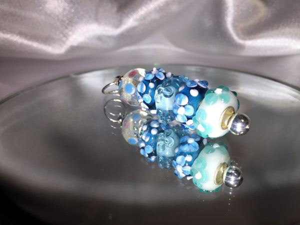 Blue Lampwork Glass Pendant .925 Silver Plate Necklace