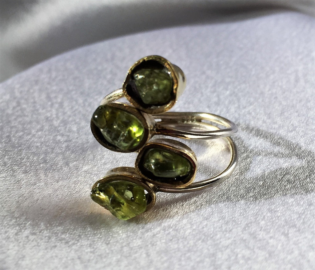 Rough Peridot Ring - Two Tone Silver and Gold Size 7.5