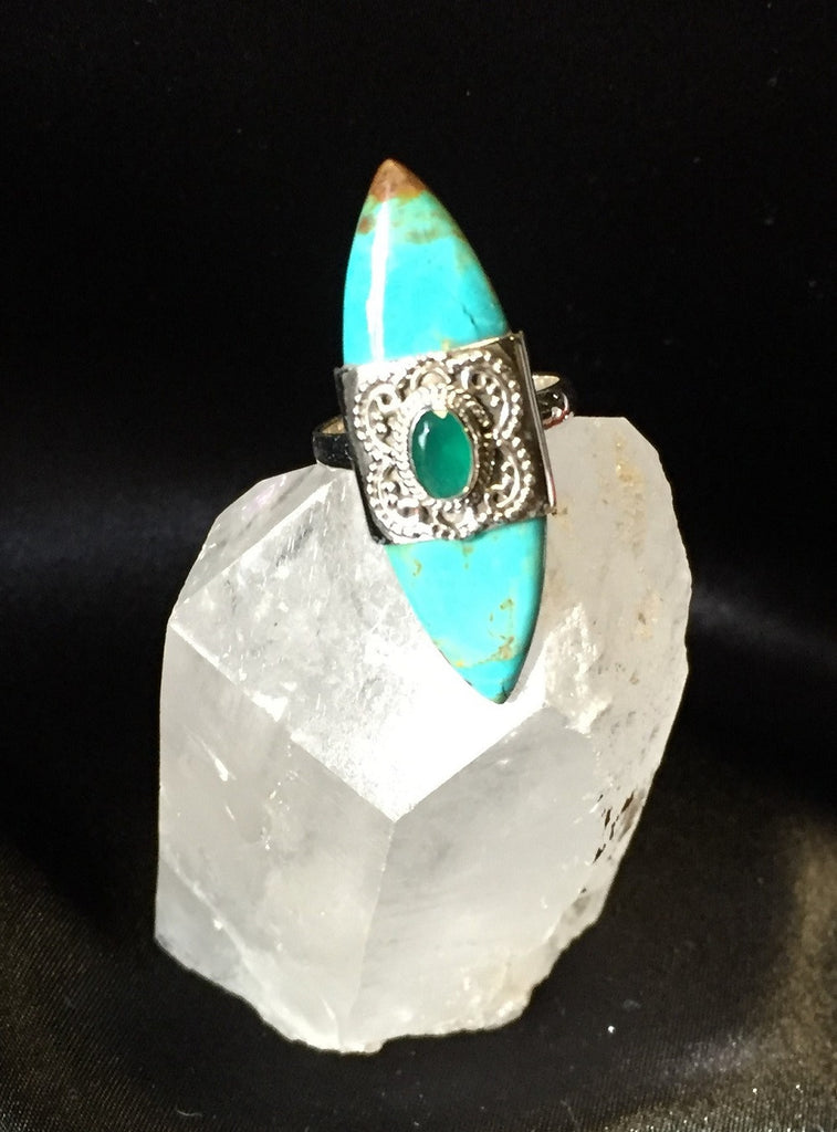 Blue Arizona Turquoise Ring with Faceted Emerald - Silver Setting Size 7