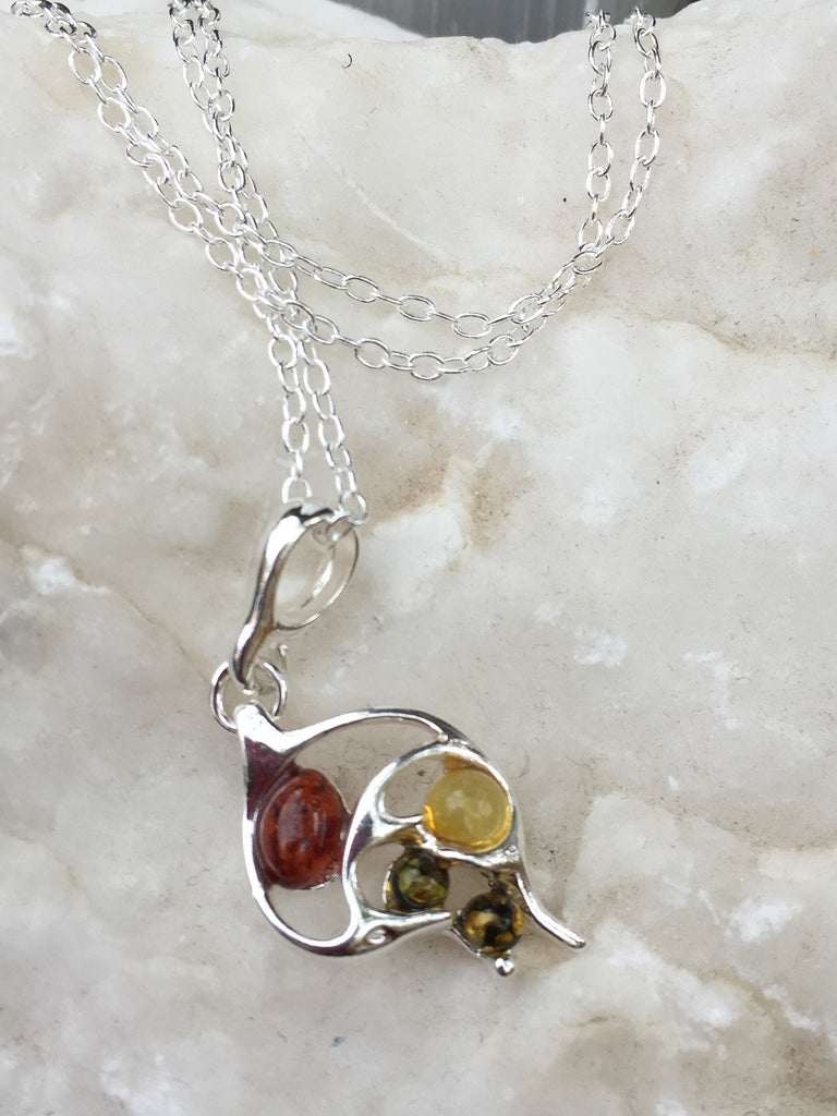 Baltic Amber Trendy Pendant & Chain