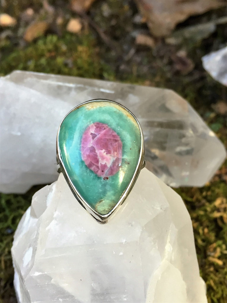 Watchful Eye Ruby in Fuchsite Ring Size 7.5
