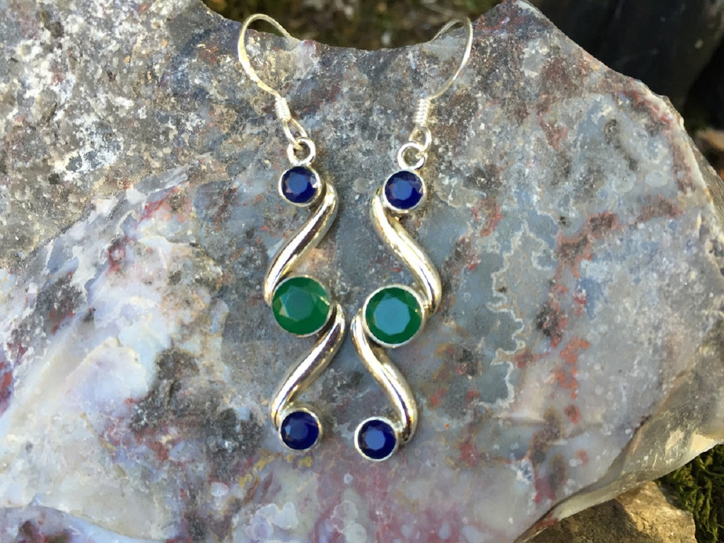 Indian Emerald & Sapphire Modernistic Earrings