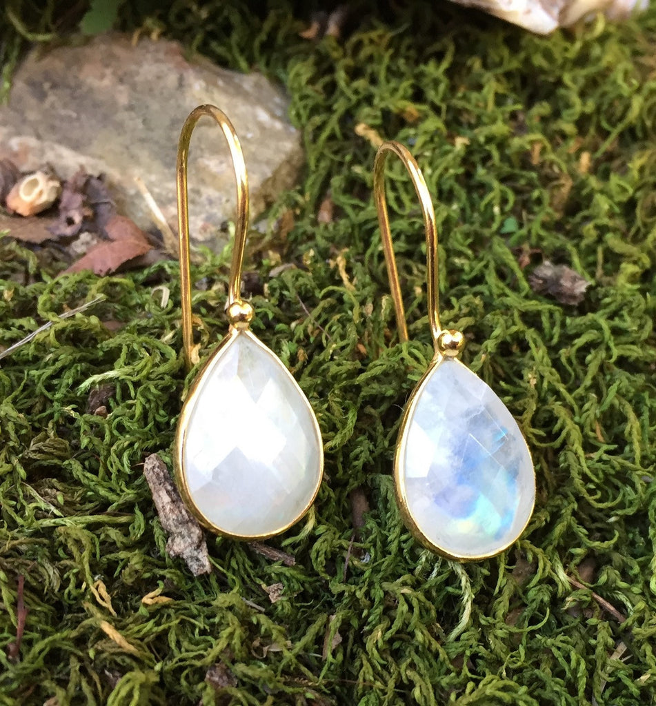 Rainbow Moonstone Gold Plated Silver Earrings
