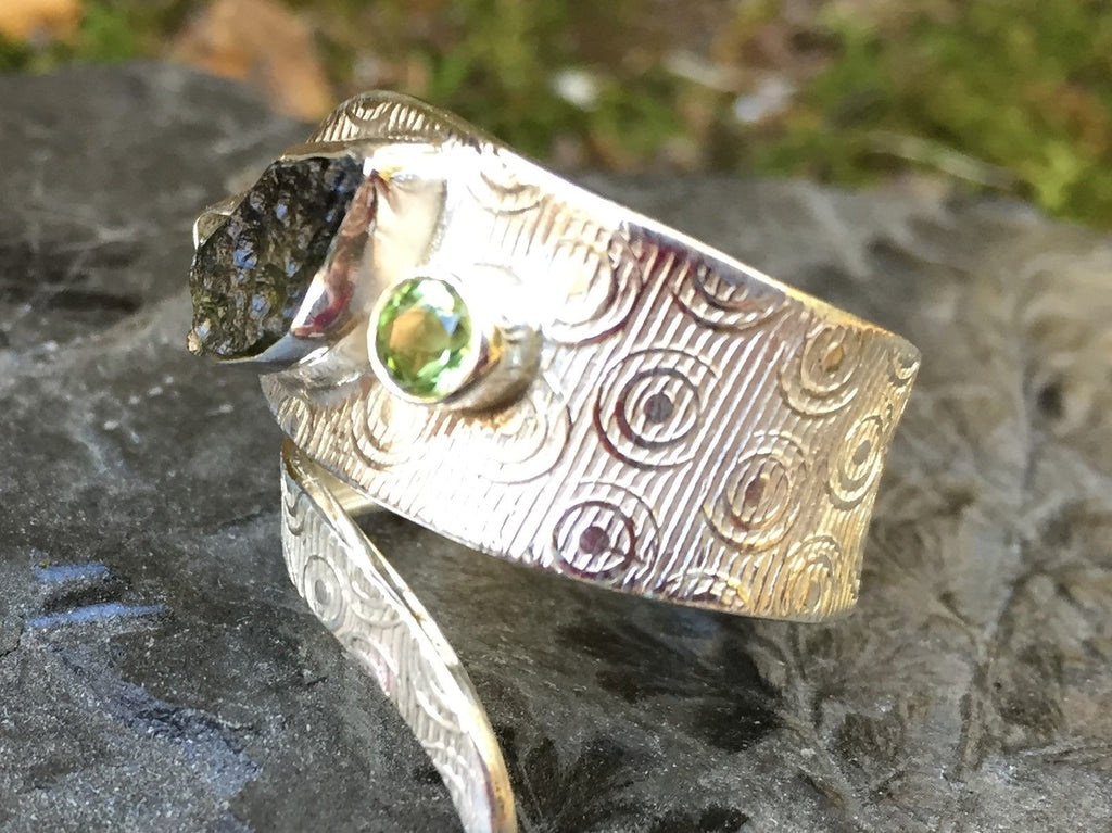Rough Peridot Ancient Ring Size 8.5