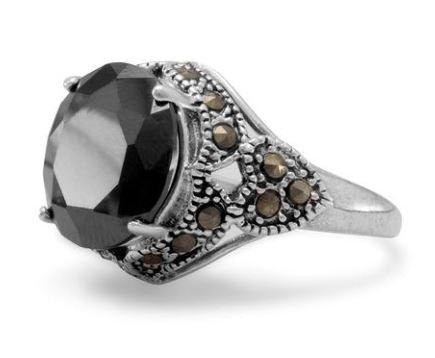 Black Faceted Cubic Zirconia and Marcasite Sterling Ring Size 6