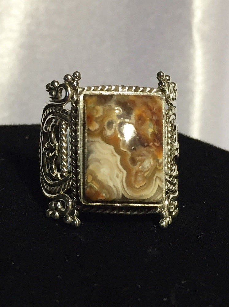 Mexican Laguna Lace Agate Ring - Size 8.75
