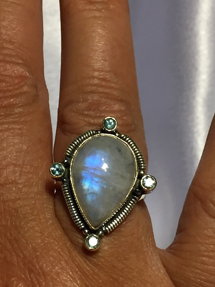 Large Pear Moonstone & Topaz Ring - Size 7.5