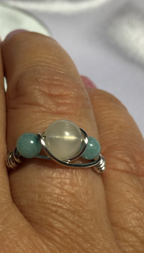 Moonstone & Amazonite Wire-Wrap Ring (June Birthstone)