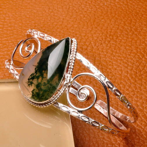 Moss Agate Cuff - Slight Defect