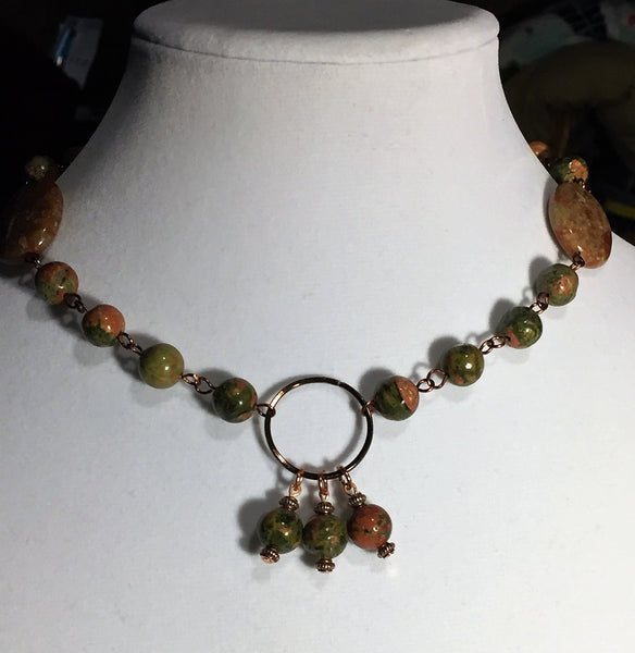 Unakite Autumn Boho Choker & Earring Set