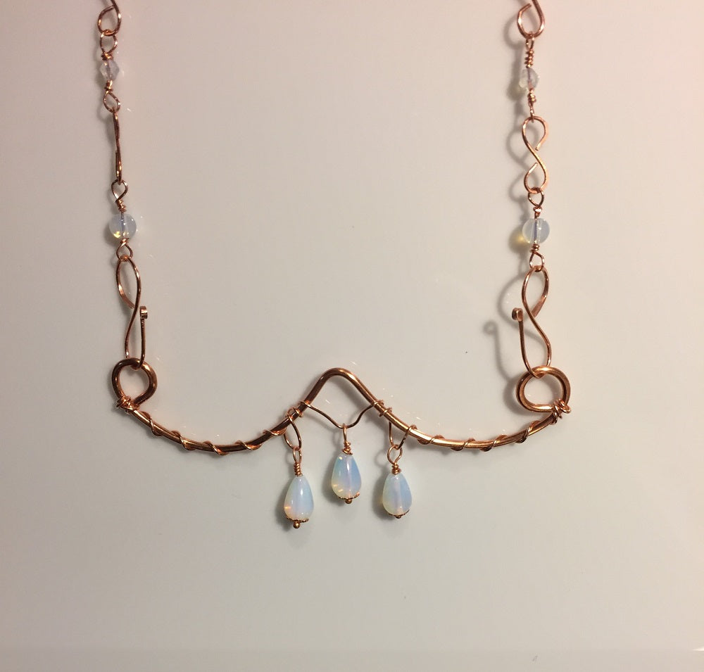 Opalite & Copper Bar Necklace