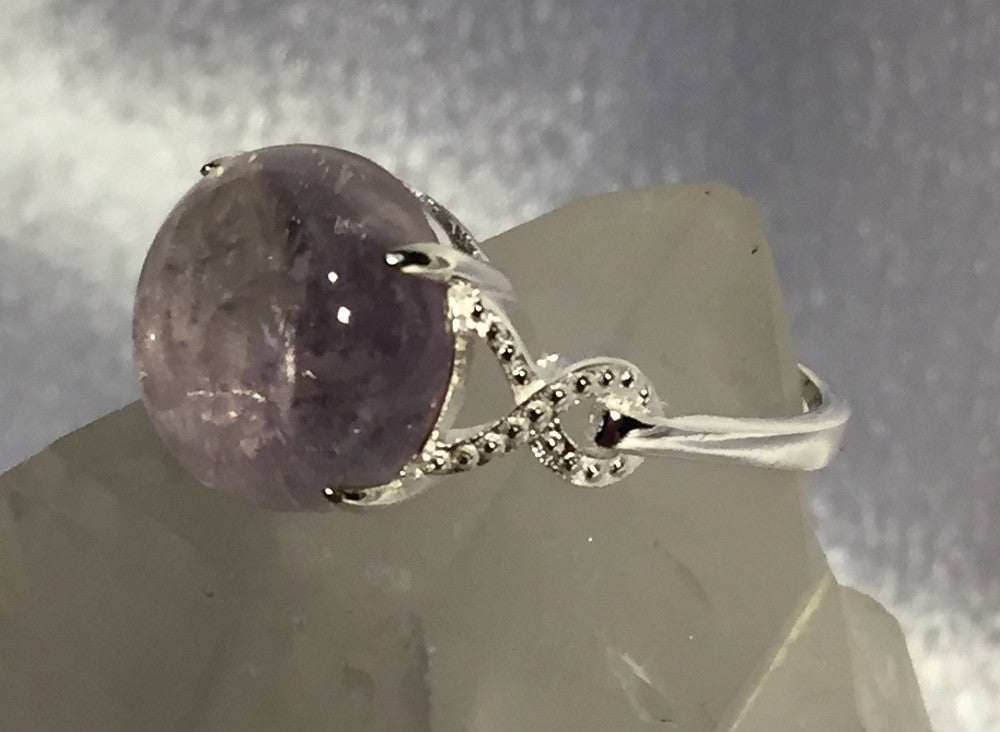 Natural Amethyst in Silver Ring Size 7.75