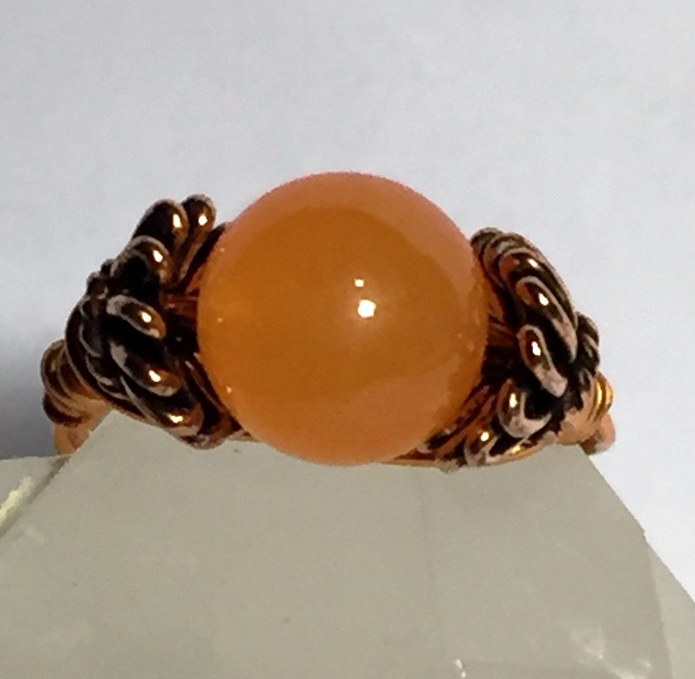 Orange Topaz Copper Wire-Wrap Ring