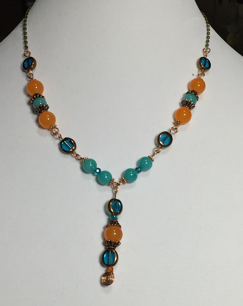 Orange Topaz & Aquamarine Beaded Copper and Brass Necklace
