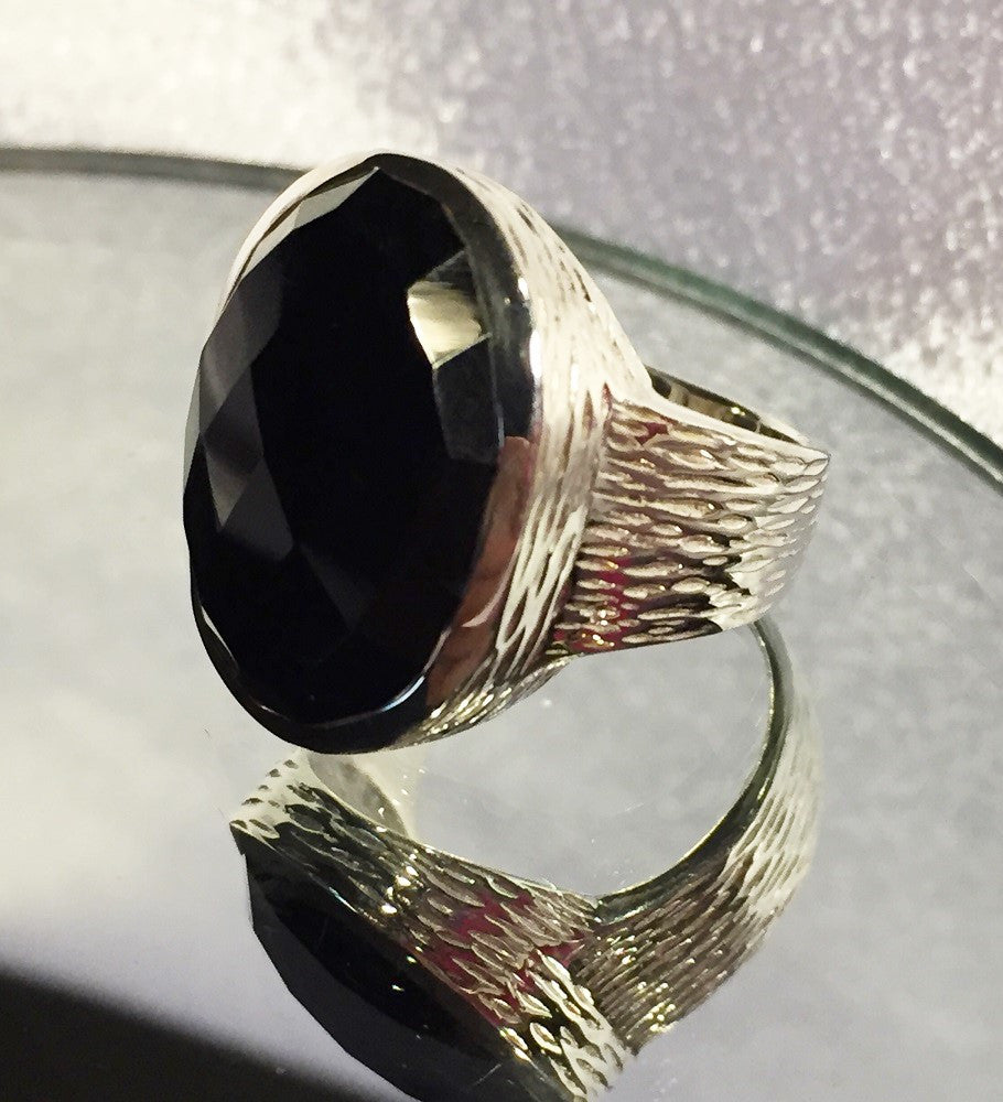 Brushed Silver Black Onyx Ring-Size 7