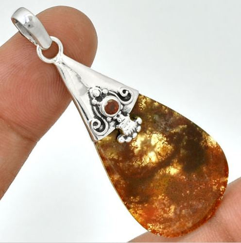 Red Moss Agate & Garnet Solid Silver Pendant