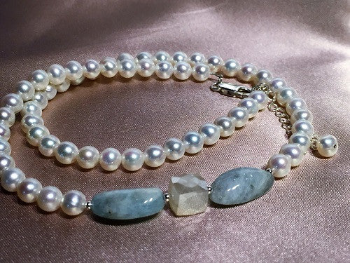 Princess Pearl & Aquamarine Necklace - LAST ONE