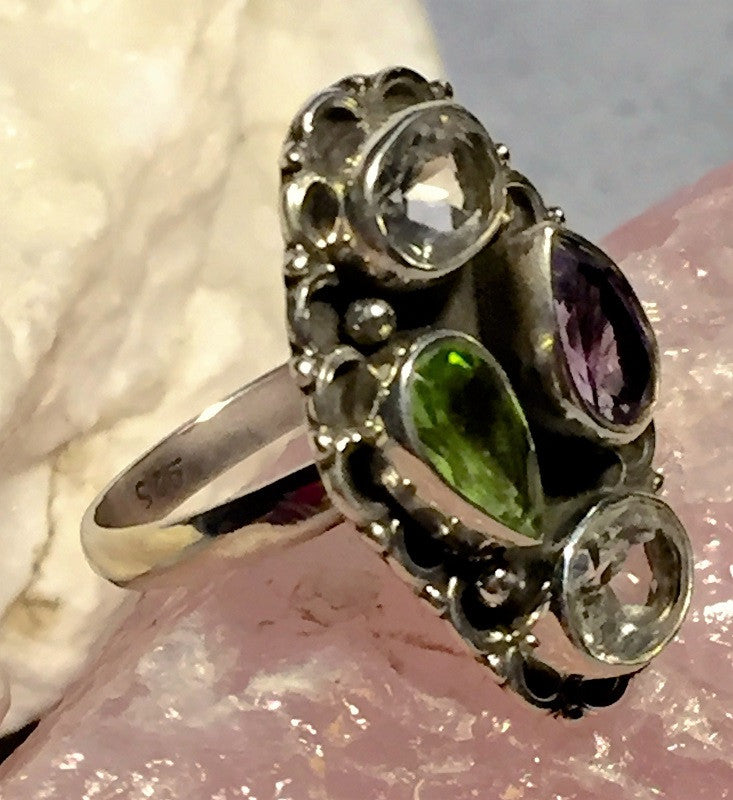 Fanciful Amethyst Peridot Ring Size 6.75