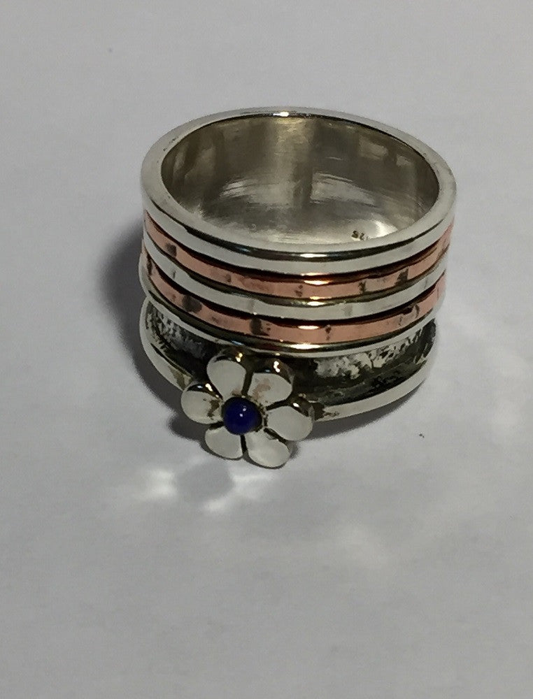 Lapis Flower Two-Tone Ring - Size 7