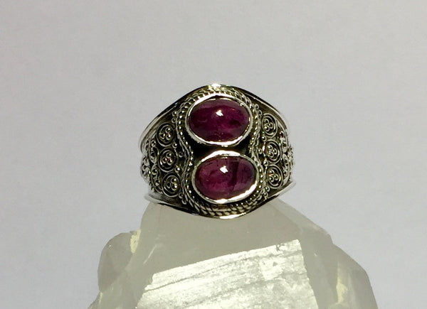Fancy Twin Tourmaline Ring Size 7.25