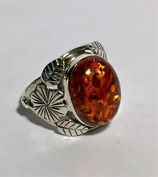 Woodland Amber Ring - Size 7.5